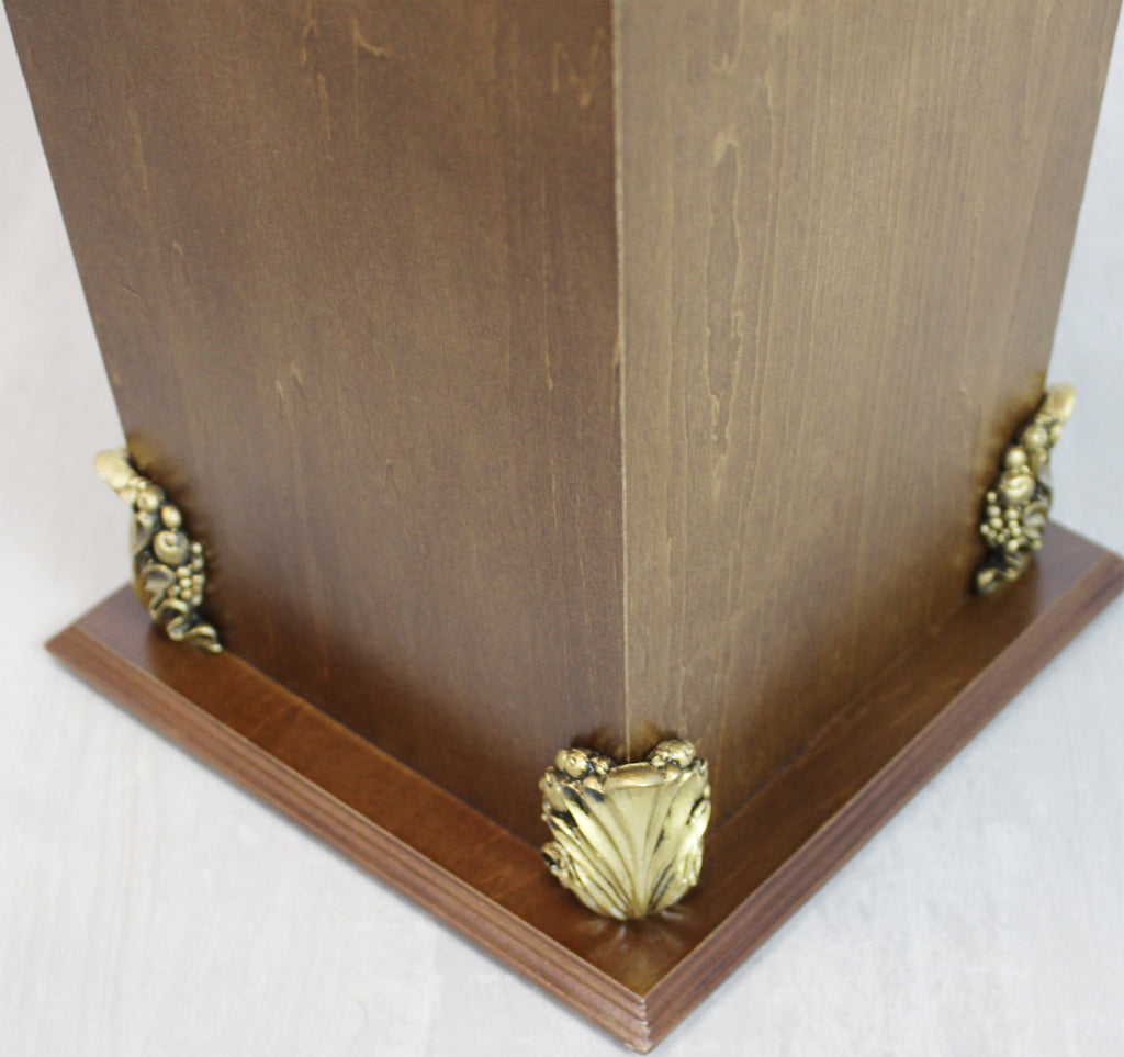 Classic Wood Umbrella Holder / Stand with Gold Plaque