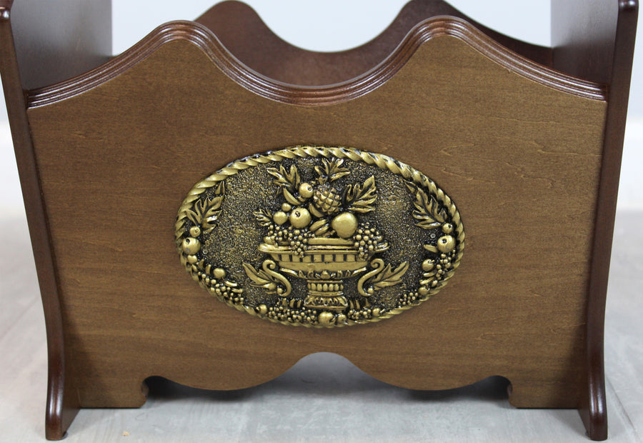Classic Wood Magazine Rack with Gold Plaque