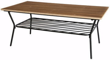 Wood and Metal Coffee Table with Storage Shelf, Great Coffee Table for Living Room