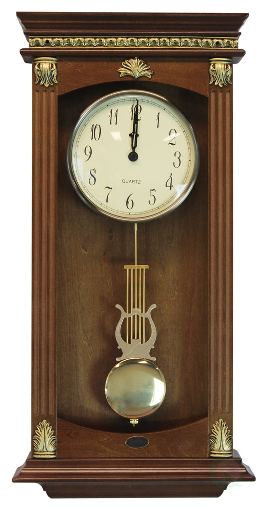 Traditional Wood Wall Mounted Pendulum Clock Walnut Finish