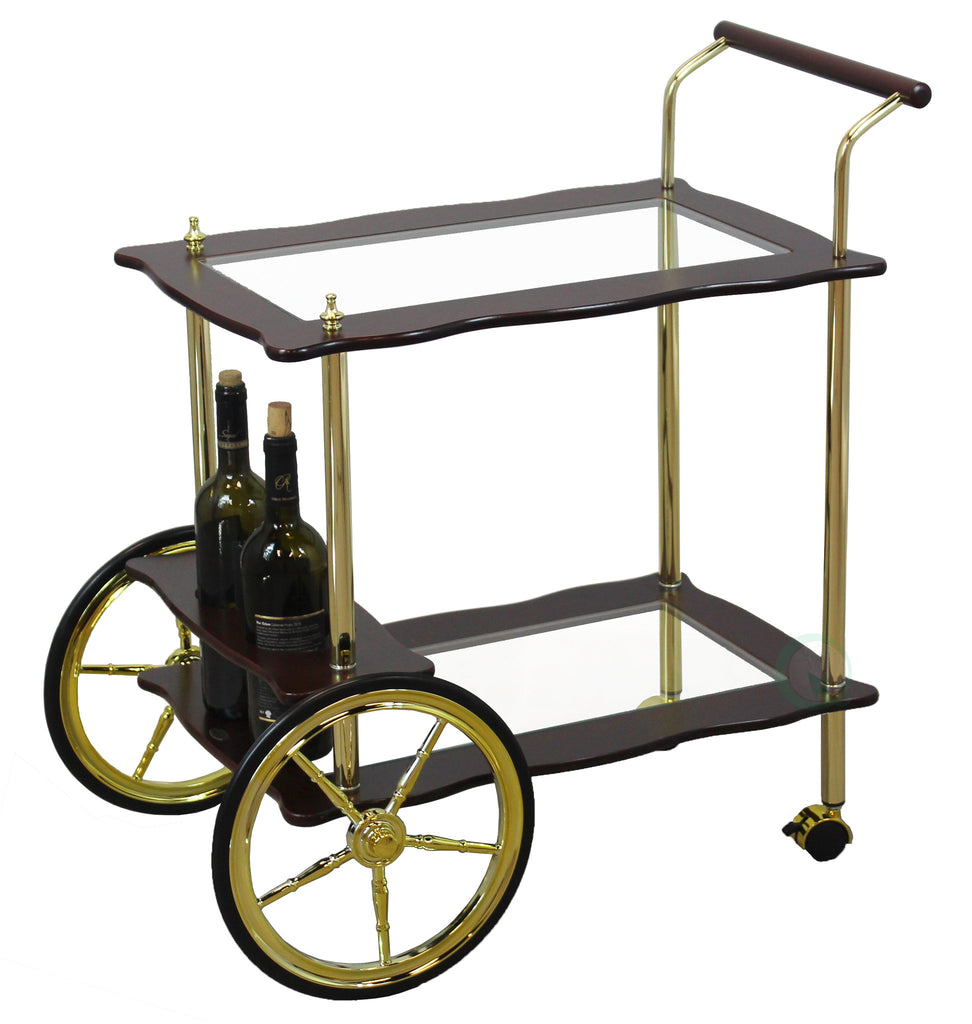 2-Tier Brass-Wood Serving Tea Cart With Clear Tempered Glass