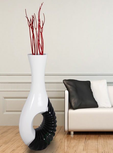 Modern Black And White Large Floor Vase 43 Inch Uniquewise