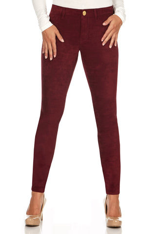 ELITE JEANS 3 Button High Waisted Active Stretch Women | Merlot (P19328-95)
