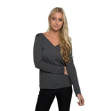 THREAD SOCIETY Comfy Long Sleeve V Neck T-shirt Women | Athletic Grey