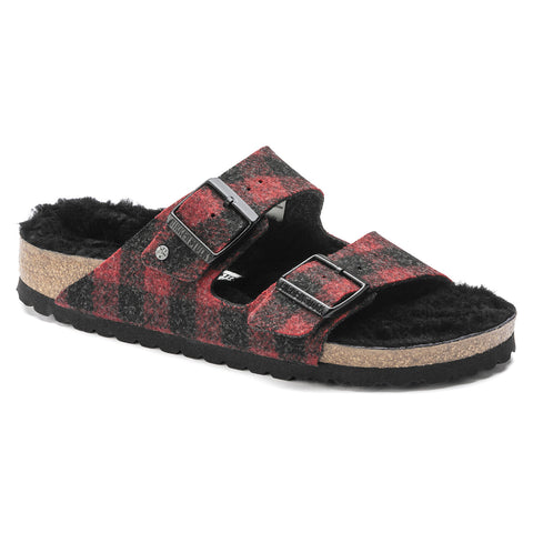 BIRKENSTOCK Arizona Shearling Wool Men | Plaid Red (1018111)