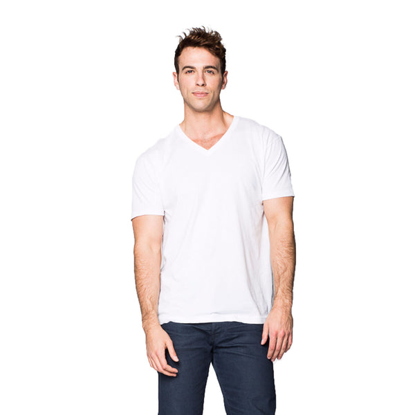 THREAD SOCIETY Basic V Neck T-Shirt Men | White