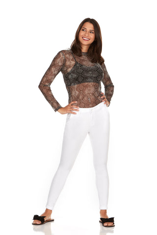 ELITE JEANS Trousers Mid Rise Active Stretch Skinny Jeans Women | White (P19006-04)