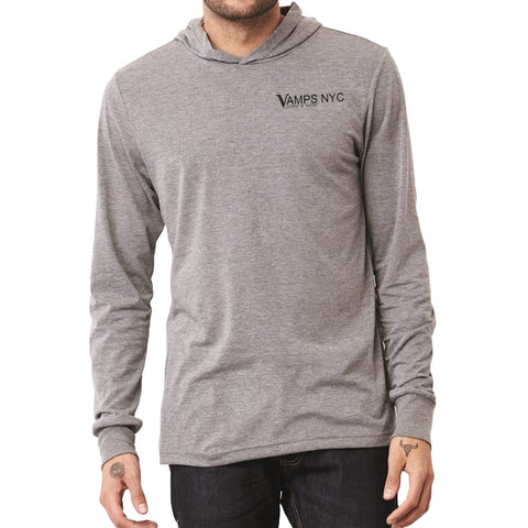 VAMPS NYC Triblend Logo Hoodie Men | Heather Grey