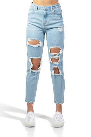 ELITE JEANS High Rise Ripped Hole Mom Jeans Juniors | Light Wash (P21037)