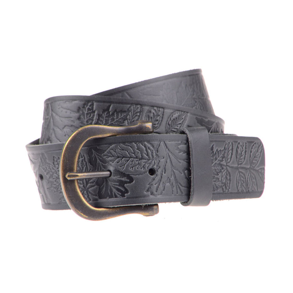 A. KURTZ Shaw Pattern Leather Belt Men | Black (AKL073)