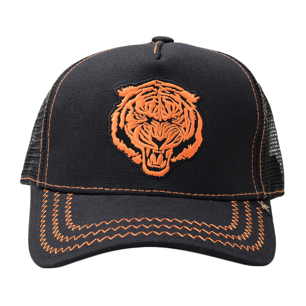 GOLD STAR Tiger Trucker Hat | Black/Orange
