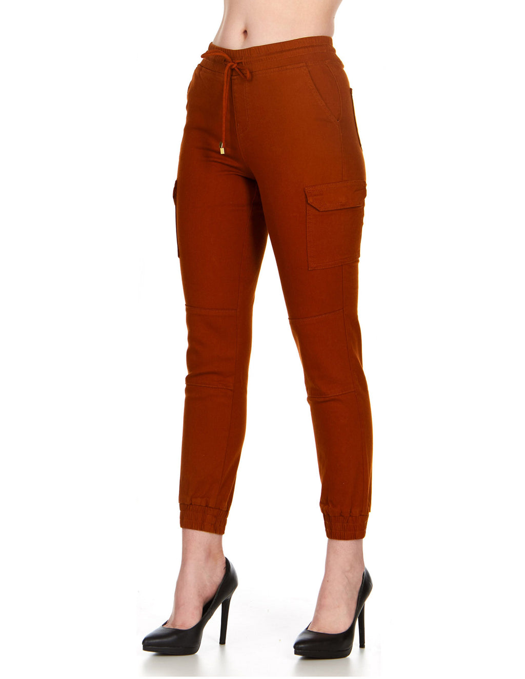 ELITE JEANS High Waisted Pull-On Cargo Joggers Women | Rust (P19562-84)