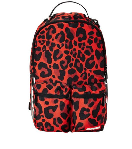 SPRAYGROUND Red Leopard Double Bargo Backpack Unisex | Red (B2418)