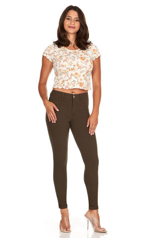 ELITE JEANS Mid Rise Active Stretch Push Up Skinny Jeans Women | Olive (AP18308-06)
