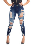 ELITE JEANS High Rise BlowOut Skinny Ankle Juniors/Women | Dark Wash (P20422)