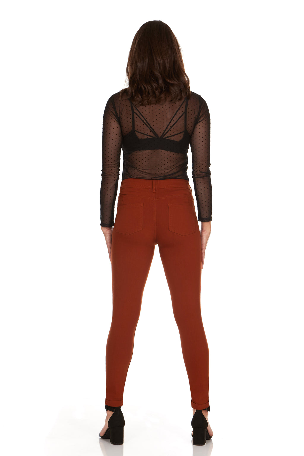 ELITE JEANS Mid Rise Push Up  Skinny Jeans Women | Rust (AP18308-84)