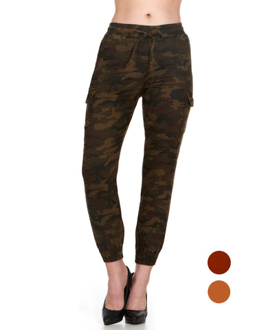 ELITE JEANS Pull-On Cargo Jogger Women | Army Green Camp Combo (P19612-64)