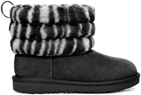 UGG Fluff Mini Quilted Zebra Kids | Black/White (1116116K)