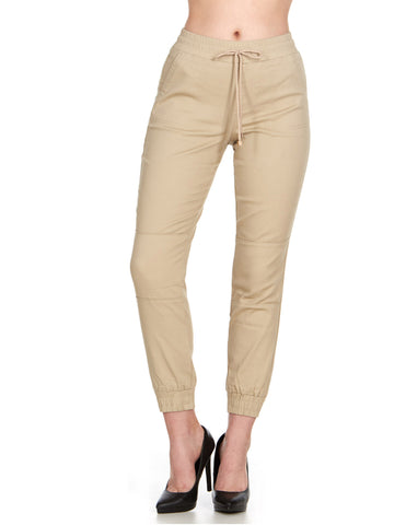 ELITE JEANS Pull -On High Waisted Jogger Women | Khaki (P19636-03)