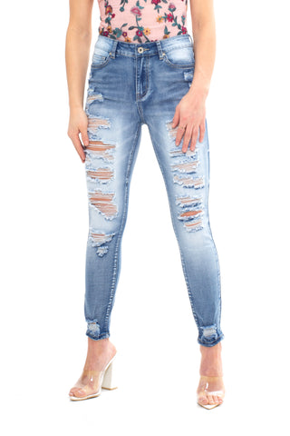 ELITE JEANS High Rise BlowOut Skinny Ankle Women | Medium Wash (P20104)