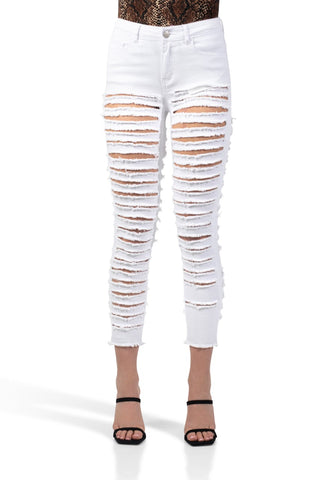 ELITE JEANS Color Twill High Rise Shredded Skinny Women | White (P20444-04)