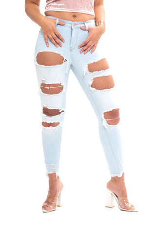ELITE JEANS High Rise BlowOut Ripped Ankle Women | Light Wash (P20412)