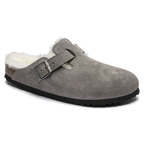 BIRKENSTOCK Boston Shearling Suede Narrow Women | Stone Coin (1017651)
