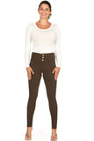 ELITE JEANS 3 Button High Waisted Active Stretch Women | Merlot (P18864-84)