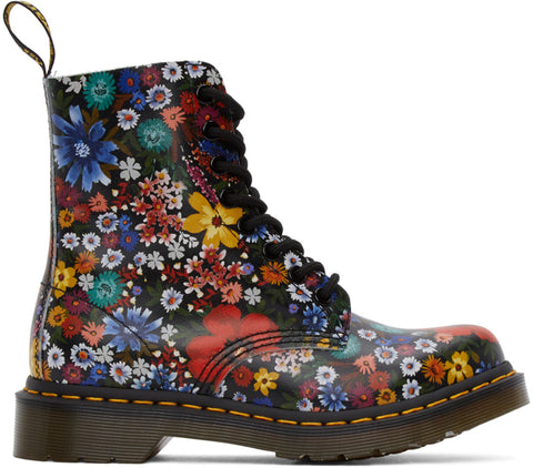 DR.MARTENS 1460 WanderFlora Kids | Black Hydro Leather (26046001)