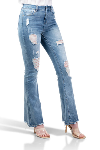 ELITE JEANS Sandblasted Destructed Hi-Rise Flare Jean Juniors | Potassium Wash (P21327)