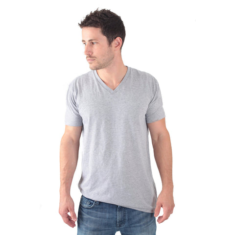 THREAD SOCIETY Basic V Neck T-Shirt Men | Heather Grey