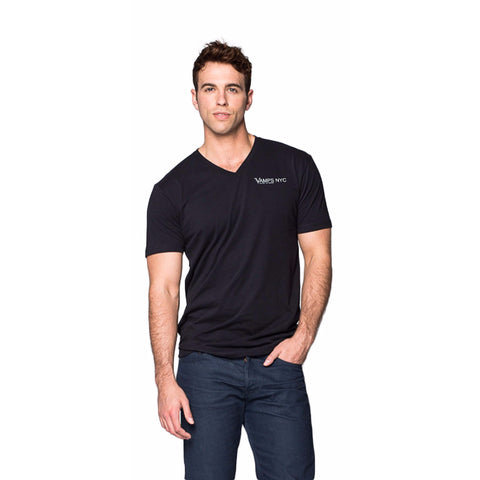 VAMPS NYC Logo V-Neck T-Shirt Men | Black