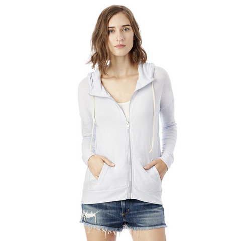 ALTERNATIVE APPAREL Cool Down Zip Hoodie Women | Eco Glacier Blue