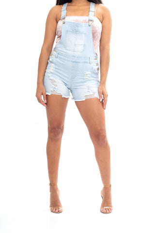 ELITE JEANS Powder Wash Destructed Fray Hem Overalls Juniors/Women | Light Blue (SA20496)