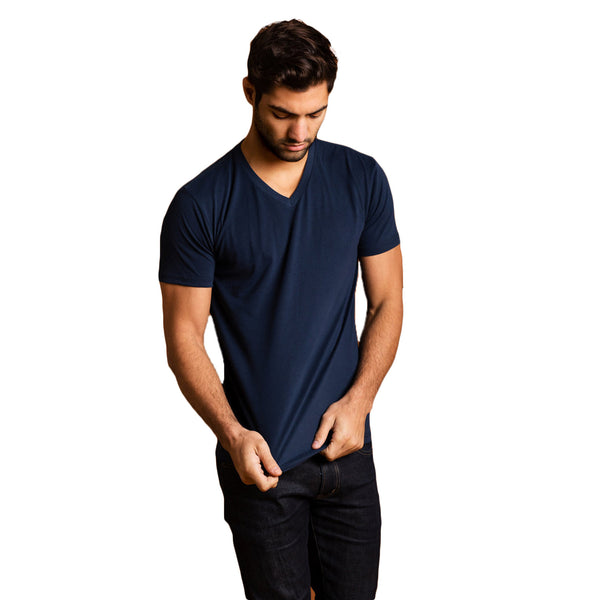THREAD SOCIETY Premium V Neck T-Shirt Men | Navy