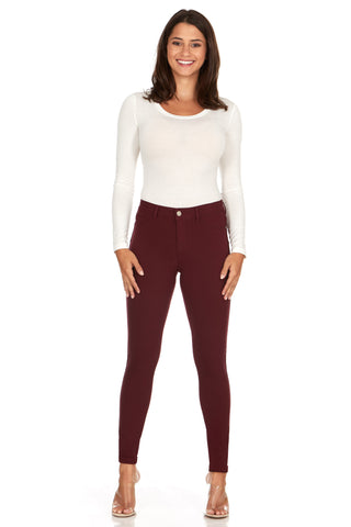 ELITE JEANS Mid Rise Active Stretch Push Up Skinny Jeans Women | Merlot (AP18308-95)