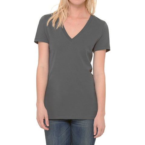 THREAD SOCIETY Deep V Neck T-Shirt Women | Dark Grey