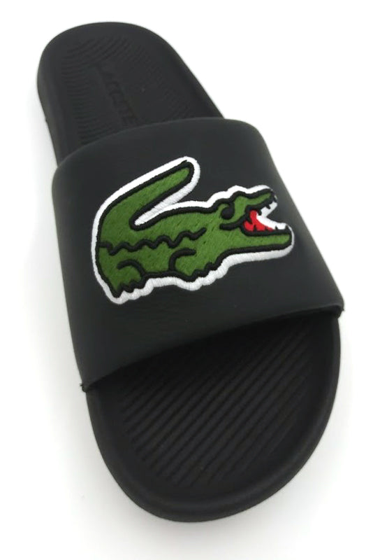 LACOSTE Croco Slide 319 4 Women | Black/Green (738CFA0047)