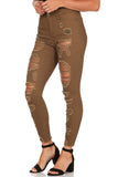 ELITE JEANS Twill High Rise Destructed Ankle Women | Olive (P19084-06)