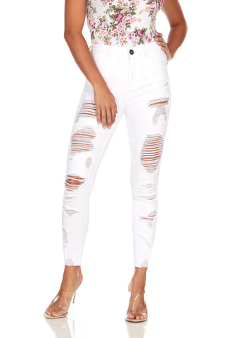 ELITE JEANS Destructed Color Twill Women | White (P19084-04)
