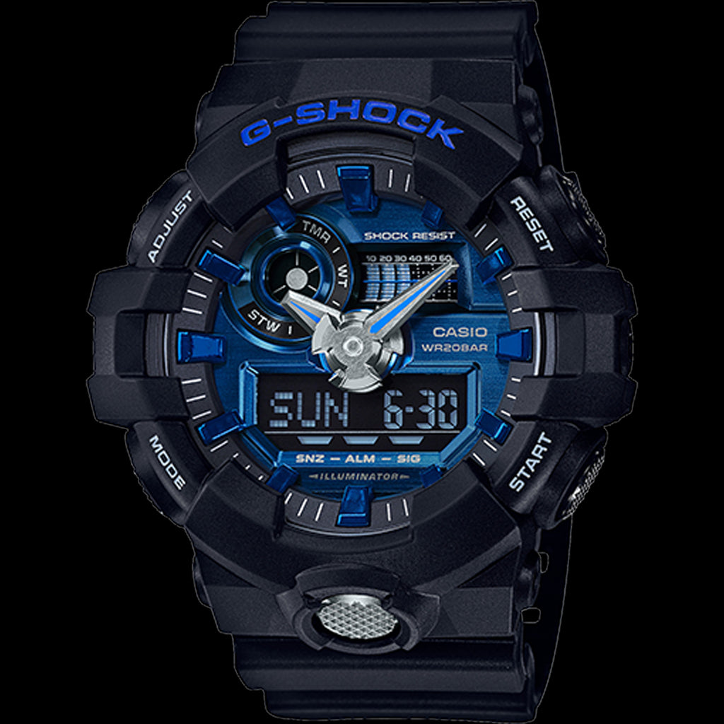 G-SHOCK GA710-1A2 Watch Men | Black / Blue (GA-710-1A2CR)
