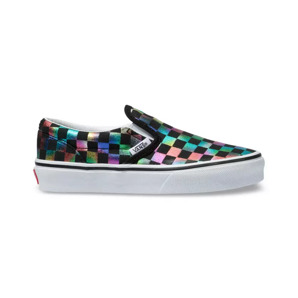 VANS Iridescent Checkboard Slip-On Kids | Black/True White (VN0A4BUTSRY)