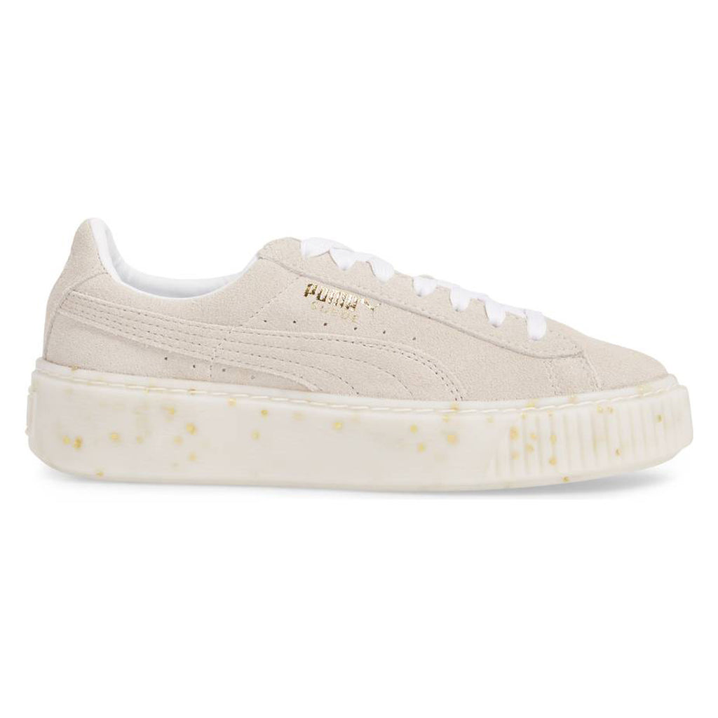 Puma Suede Platform Celebrate Women's Sneaker Shoes White Team Gold 365621-02
