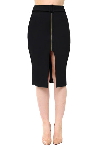 Down to Business - HR Belted Zipper Front Pencil Skirt - Black