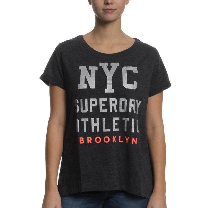 SUPERDRY Worn Wash BF Tee Women | Black Marl (G10024XOAZB)
