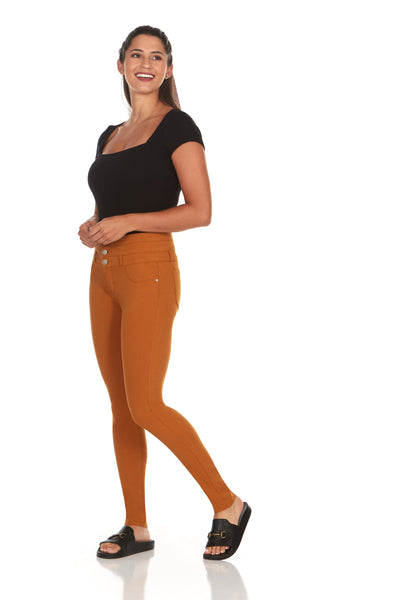 ELITE JEANS High Rise 3-Button Stack Waist Active Stretch Skinny Jeans Women |Rust (P18864-84)