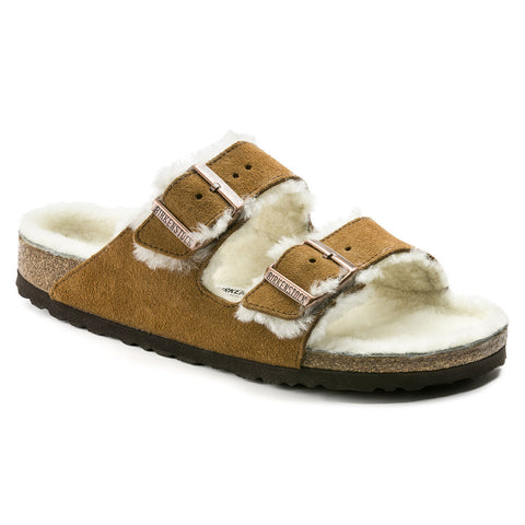 BIRKENSTOCK Arizona Shearling Suede Leather Women | Mink (1001135)