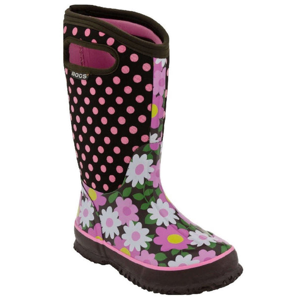 BOGS Flower Dots Rain Boot Kids | Coffee (71436)