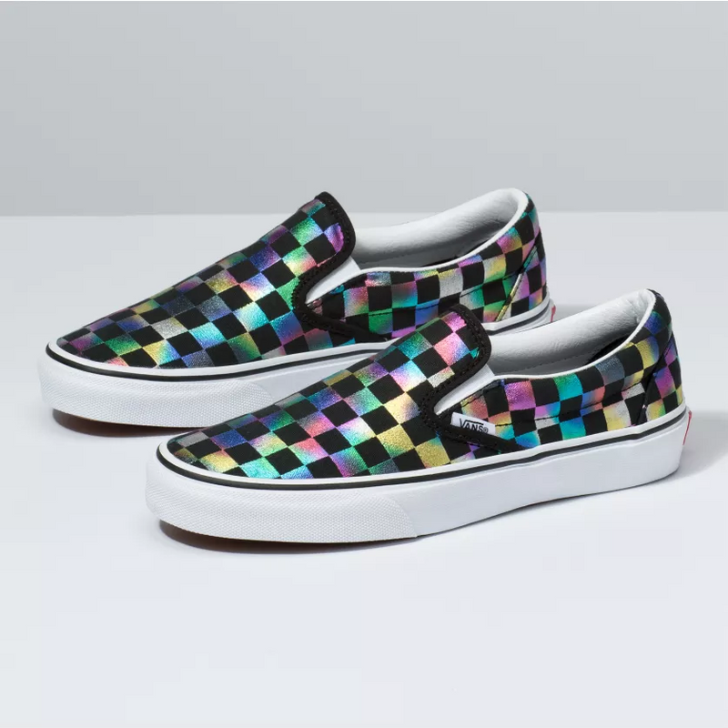 VANS Iridescent Check Slip-On Women | Black/True White (VN0A4BV3SRY)