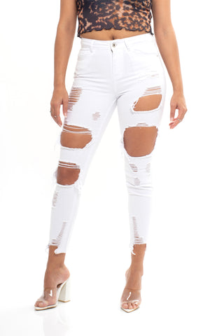 ELITE JEANS High Rise BlowOut Skinny Ankle Women | White (P20418-04)